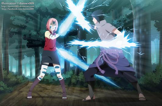 Commission - Sasuke Vs Sakura 1/12 by dannex009