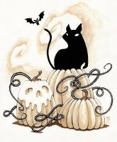 Cat and pumpkins by grelin-machin