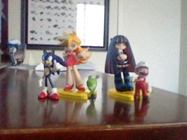 Panty and Stocking with Chuck, Mario and Sonic by TuffTony
