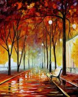 Golden park by Leonid Afremov by Leonidafremov