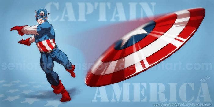 Captain America Throws His Mighty Shield by ArtistAbe
