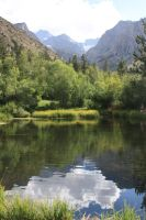 Pond with a Mountain View by GreenEyezz-stock