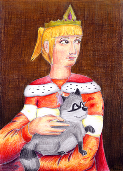 The Empress With The Raccoon by Birone