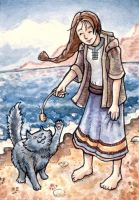 Maia and Shadow ACEO by angelac