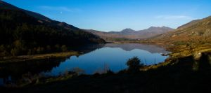 Snowdon and friends from Plas-y-Brenin with Moon by happeuss
