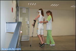 Walking in double hip spica with Minerva cast by MedicBrace