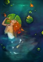 Ophelia and the Waterlilies by elbarien