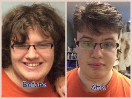 me before and after hair donation :3 by freakness96
