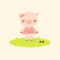 The Lone Piglet by happywish