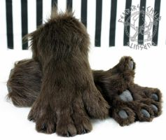 Brown feral canine handpaws by fenrirschild