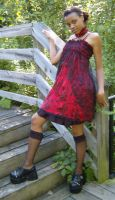 Red black floral dress by funkyfunnybone