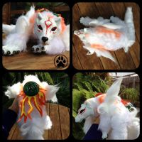 Okami Amaterasu handmade softbodied doll by CreaturesofNat