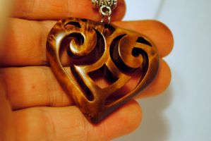 Wooden heart from birch burl by JOVictory