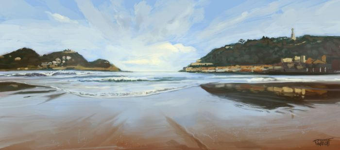 Sunrise at La Concha Beach (video study) by PaintedParrott