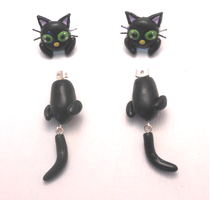 Handmade black cat earrings by MiniSweetx