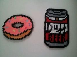 The Simpsons Duff Beer And Donut by CrimsonDeathAngel13