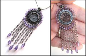 amethyst and silver necklace by annie-jewelry