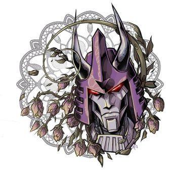 Cyclonus and dead roses by TheButterfly