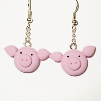 Cute Polymer Clay Pink Piggy Earrings by Linnypig