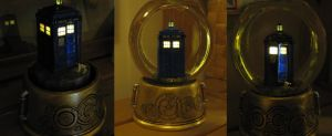 TARDIS Snowglobe by night by BringBackTheDodo