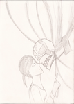 Creepy GLaDOS and Chell by SarahPrime