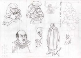 Smurfs movies sketches by AliceSacco