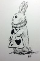 Christmas Card #4 - White Rabbit by monkette