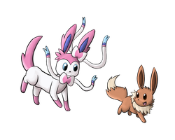 Sylveon and Eevee by Miss-Mccookies
