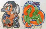 Hoofless and Mosspony badges by onnanoko