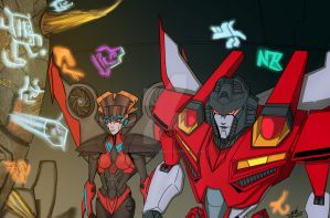Windblade and Starscream Commission for Valong by ConstantM0tion