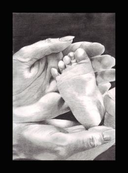 Baby's foot by jabylsma