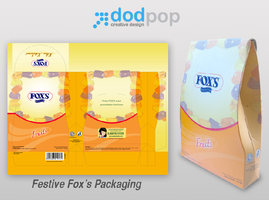 festive fox's pillow packaging by dodpop