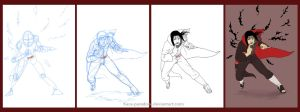 Step-by-Step commission: Fighting Itachi by Smyrker