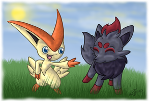 Victini and Zorua by Hawkein