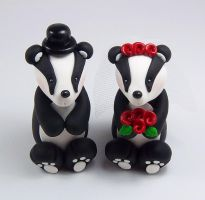Badgers Wedding Cake Topper by HeartshapedCreations