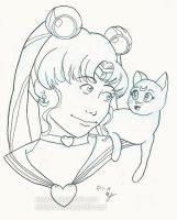 Inktober Day 1 Sailor Moon and Luna by Asatira