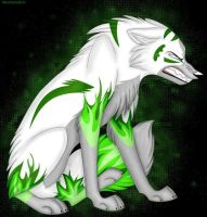 Green wolf by StaceyScream