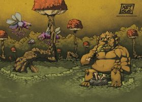 The Ogre in the Mushroom Forest by KetsuoTategami