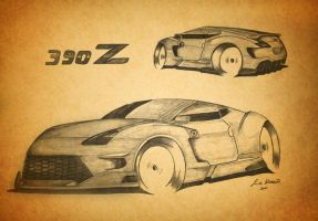 nissan 390z concept drawing by orangenes