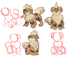 Growlithe Studies by Amiookamiwolf