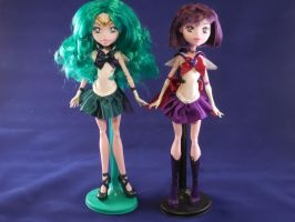 Custom Super Sailor Neptune and Saturn MH Doll by djvanisher