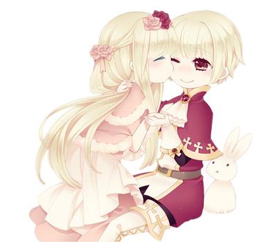 chibi couple render by Arriiety