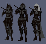 Mercenary Girl Design Thumbnails by AnikeArmen