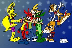 Rayman Jimmy Jazz Jackrabbit and Tails by spongefox