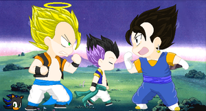 .:Gogeta and Vegito arguing:. by Shadethebathog