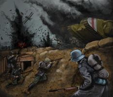 WW1 tank attack by timcatherall