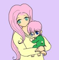 fluttershy and her son Summer Skyline by AppleCider1412