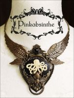 Chest tattoo moth winged Octopus necklace by Pinkabsinthe