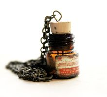 Amber Poison Bottle Necklace by asunder