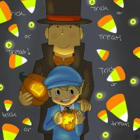 happy halloween love layton n luke by Spongebobluvr66